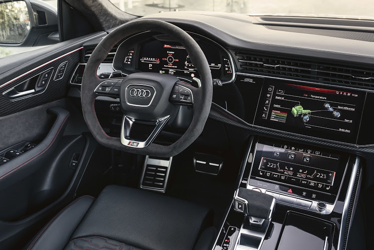 The interior is as per the Q8, with a few exceptions like the addition of an RS mode button on the steering wheel.