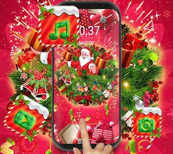 red merry christmas theme DIY wallpaper - náhled