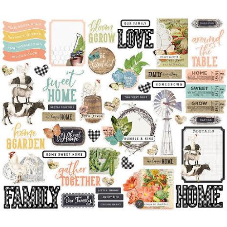 Simple Stories Bits & Pieces Die-Cuts 63/Pkg - SV Farmhouse Garden Icons