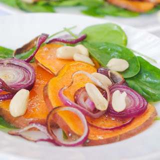 Sweet Potato and Red Onion Salad with Baby Spinach and Peanuts Recipe