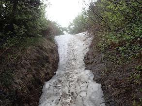 残雪の上を歩く