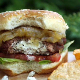 Goat Cheese Stuffed Burger with Fig and Onion Jam.