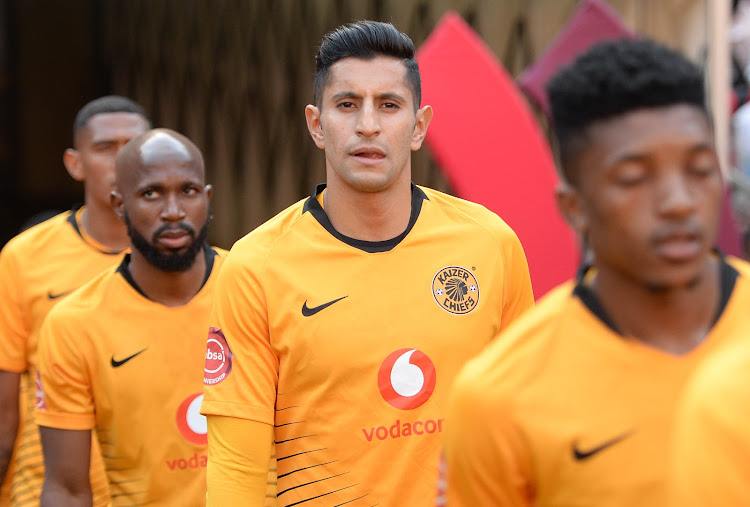 Leonardo Castro and his Kaizer Chiefs teammates walk onto the pitch at FNB Stadium in Johannesburg before their Absa Premiership match against Orlando Pirates on October 27, 2018.