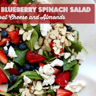 Strawberry Blueberry Spinach Salad with Goat Cheese.