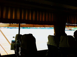 Photo: View from inside bus, crossing the Mekong River.