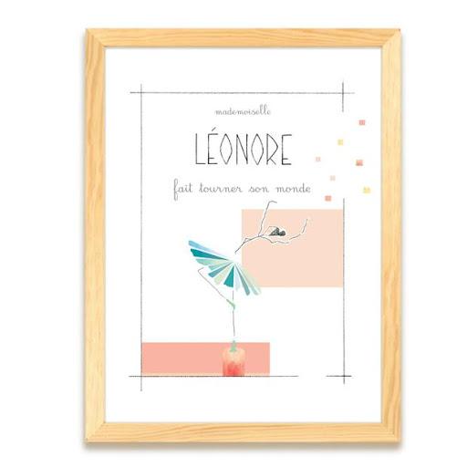 Mademoiselle fait tourner son monde - cadeau de naissance fille - danse - affiche personnalisée prénom Chambre enfant - Illustre Albert