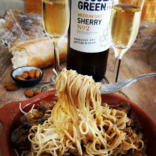 Creamy Steak and Mushroom Pasta with Spanish Sherry.