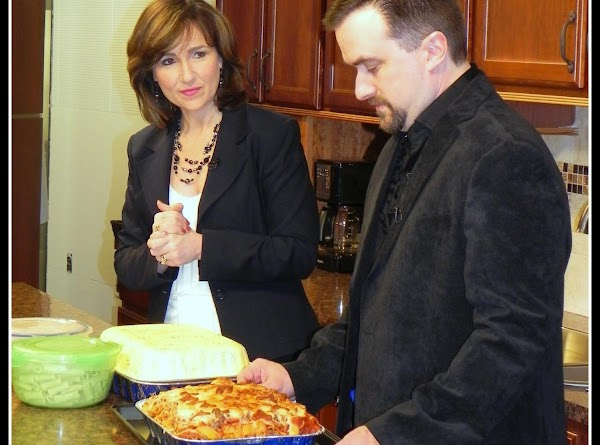 Begin layering:1 layer of rigatoni's  1 layer of sauce (spread it over noodles with...