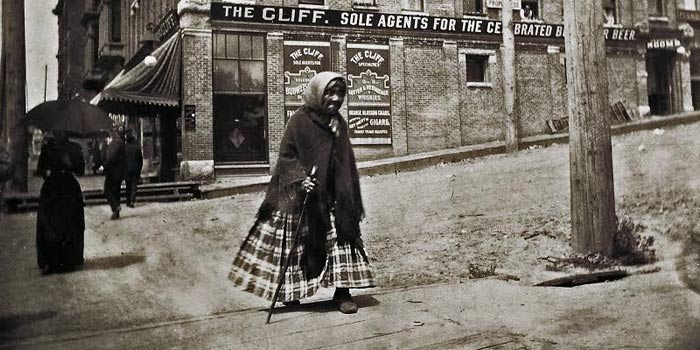 Princess Angeline walking the streets of 19th century Seattle.