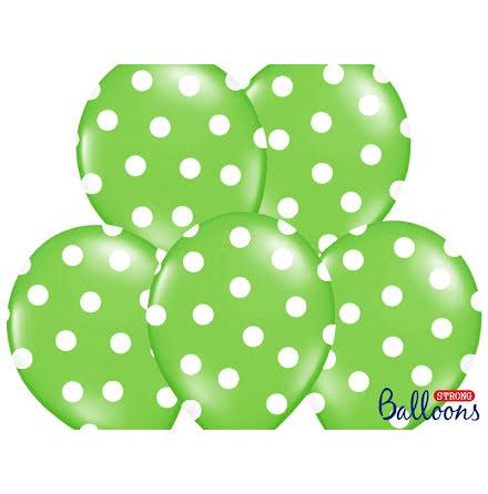 Ballonger - Limegröna med vita prickar