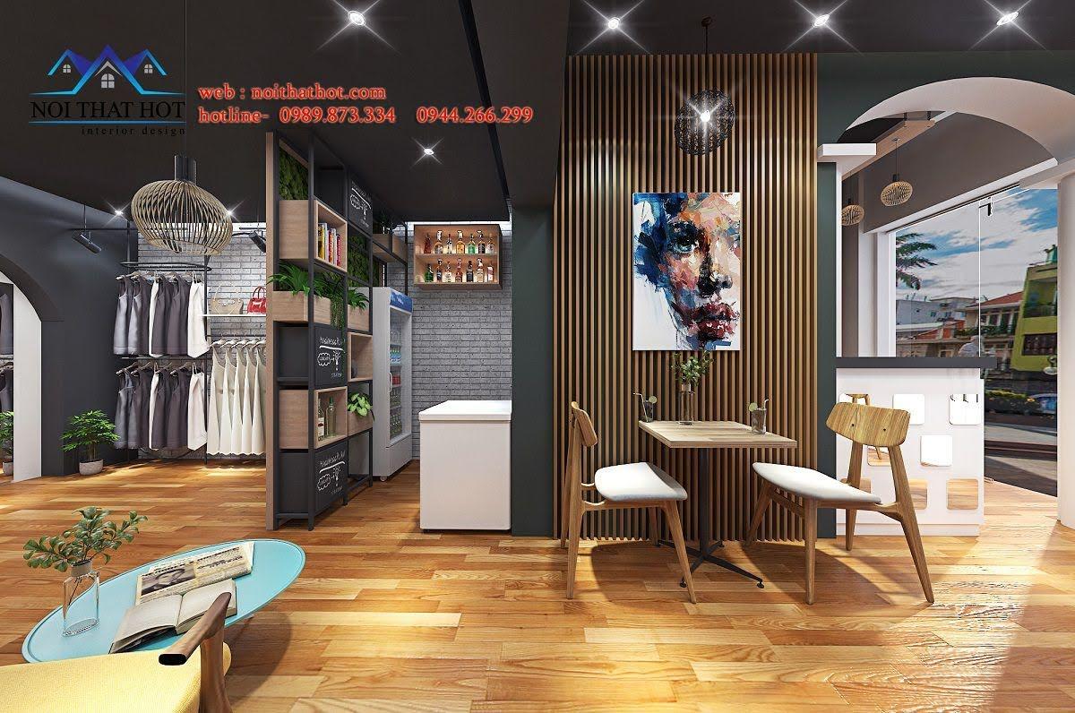 thiết kế quán cafe kết hợp shop thời trang 2
