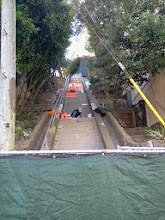 Photo: Beginning of sixth full day of work (November 1, 2013): view from the bottom of the Hidden Garden Steps (16th Avenue, between Kirkham and Lawton streets in San Francisco's Inner Sunset District) as installation of tread tiles and the 148-step ceramic-tile mosaic designed and created by project artists Aileen Barr and Colette Crutcher continues. For more information about this volunteer-driven community-based project supported by the San Francisco Parks Alliance, the San Francisco Department of Public Works Street Parks Program, and hundreds of individual donors, please visit our website at http://hiddengardensteps.org.