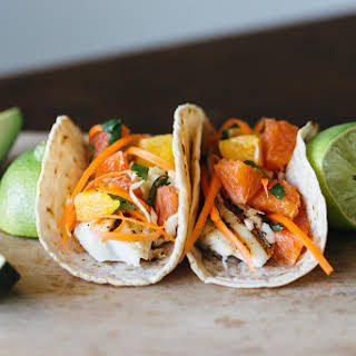 Grilled Fish Tacos with Citrus Carrot Slaw.