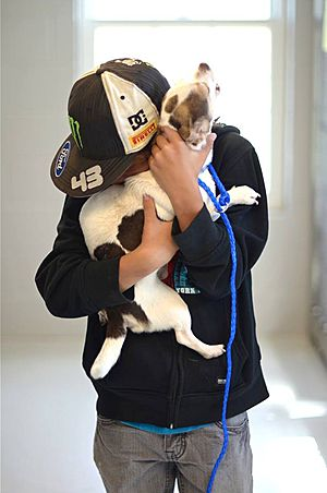 man holding his dog after a long pet move