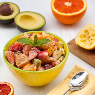 Healthy Avocado Fruit Salad with Chia Yogurt Dressing.