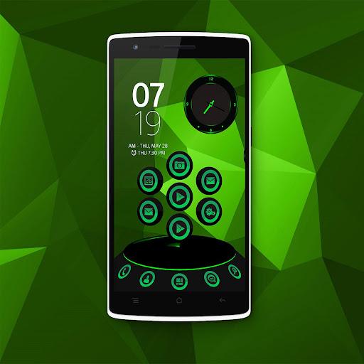 Next Launcher Theme Green Glow