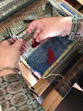 Photo: a new weaving at the loom in  the try it class