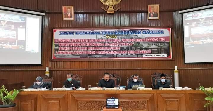 Paripurna DPRD Magetan, Perubahan Raperda Ketertiban Umum dan Laporan LKPJ Bupati