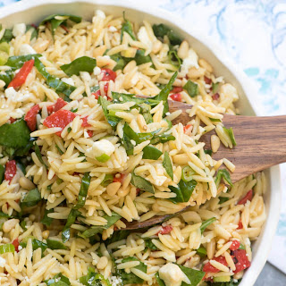 Orzo Salad with Roasted Red Peppers, Spinach, and Feta Recipe