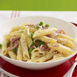 Penne with Prosciutto and Peas.