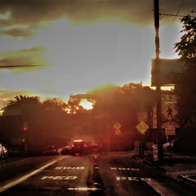 crashing sunsets by Stephany Gee - Digital Art Places ( sunset, california, los angeles, traffic )