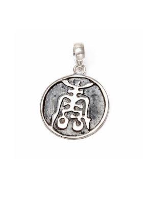 Hänge med kinesiskt lyckotecken i silver