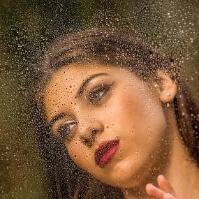 I wish you're here by Leonor Machado - People Portraits of Women ( water drops, girl, lips, lipstick, retrato, young girl, beauty, rain )