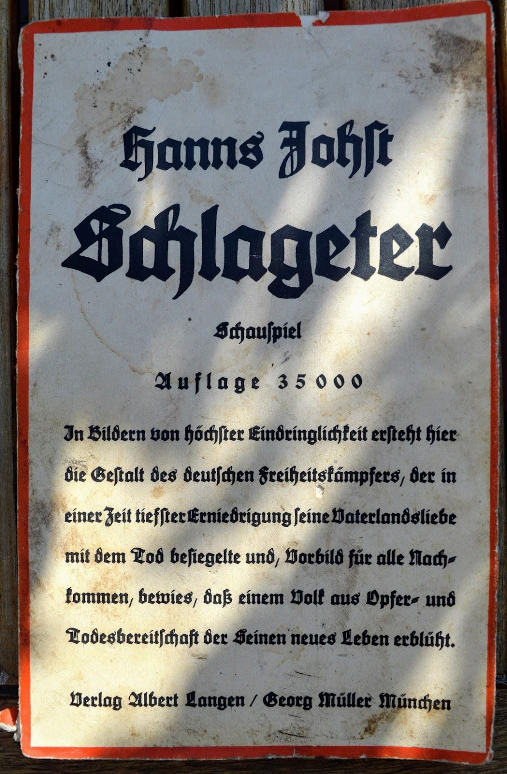 Hanns Johst - Schlageter - Schauspiel - 1935