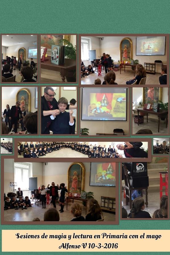 collage de espectáculo de ilusionismo en colegio mago madrid