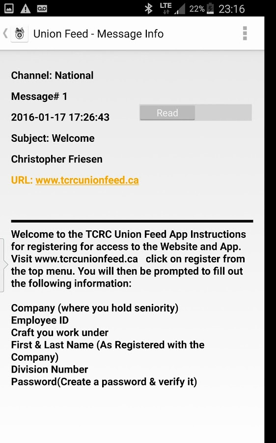 TCRC Union Feed- screenshot