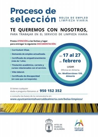 bolsa de empleo para la limpieza viaria en Huércal de Almería