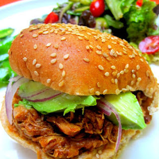 Slow Cooker Pulled Chicken with Veggie BBQ Sauce.