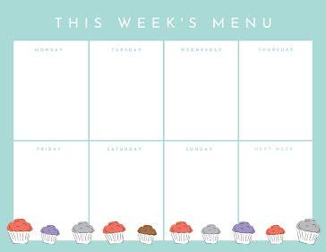 This Week's Menu - Planner template