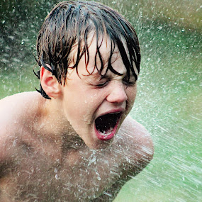 Thirsty by Amelia Rice - Babies & Children Children Candids ( water, sprinklers, drinking, boys playing )