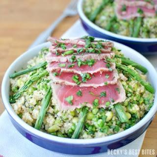 Spring Quinoa Risotto and Seared Ahi Tuna Bowls