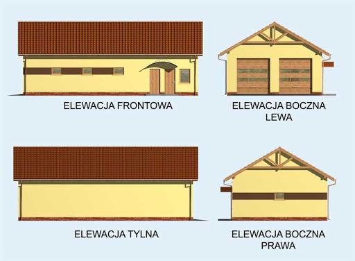G162 szkielet drewniany garaż czterostanowiskowy z pomieszczeniami gospodarczymi - Elewacje
