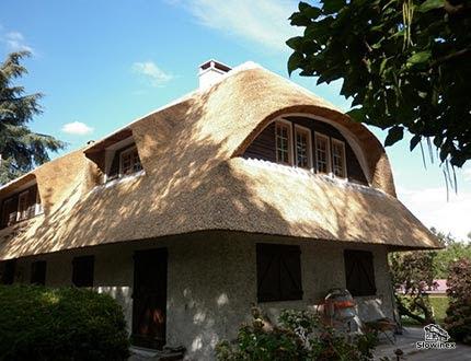 Duży dach trzcinowy z oknami dachowymi i wolim oczkiem