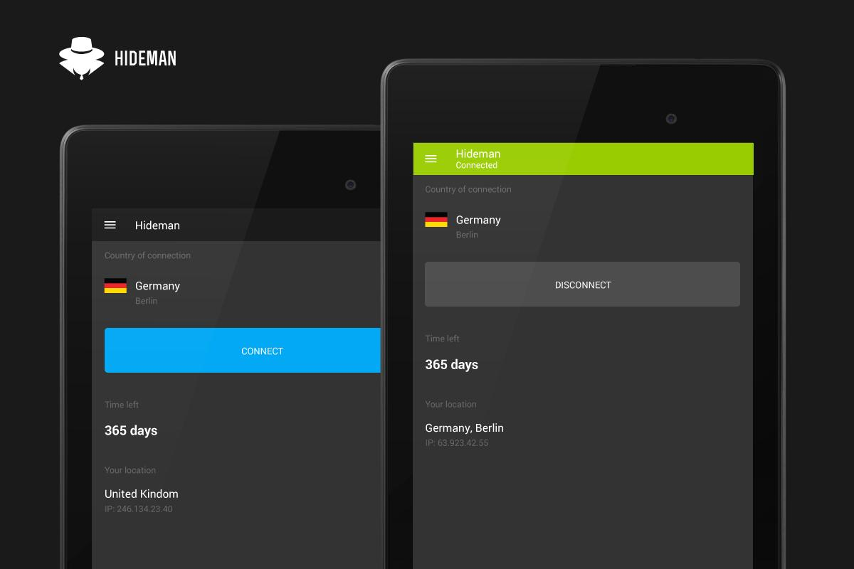 Hideman VPN- screenshot
