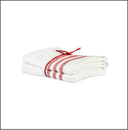 Handduk Diagonal benvit-röd