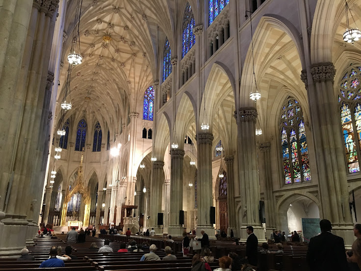 The neo-Gothic nave of St. Patrick's.
