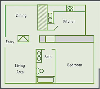 Go to One Bed, One Bath A2 Floorplan page.