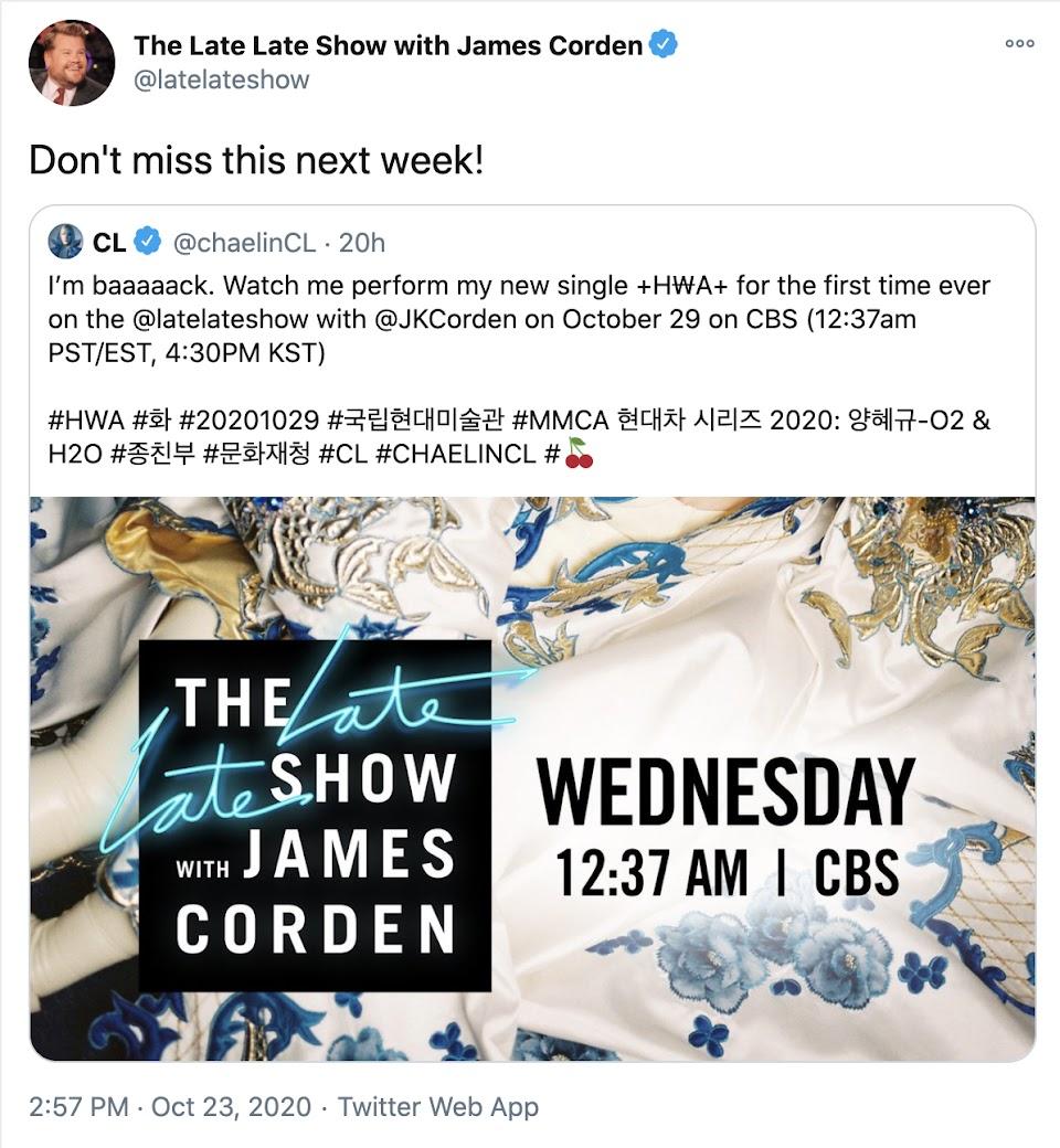 James Corden Tweet