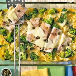 Seebarsch-Nudel-Auflauf mit Mozzarella