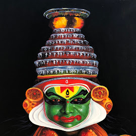 Kathakali Colors  by Prasanna Bhat - Digital Art People ( painting, closeup, kathakali )