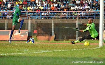 Photo: Khalifa Jabbie scores to put the Leone Stars 1-nil ahead [Leone Stars v Seychelles, Freetown, 19 July 2014 (Pic: Darren McKinstry)]