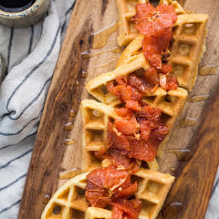 Cornbread Waffles with Roasted Grapefruit from The Easy Vegetarian Kitchen.