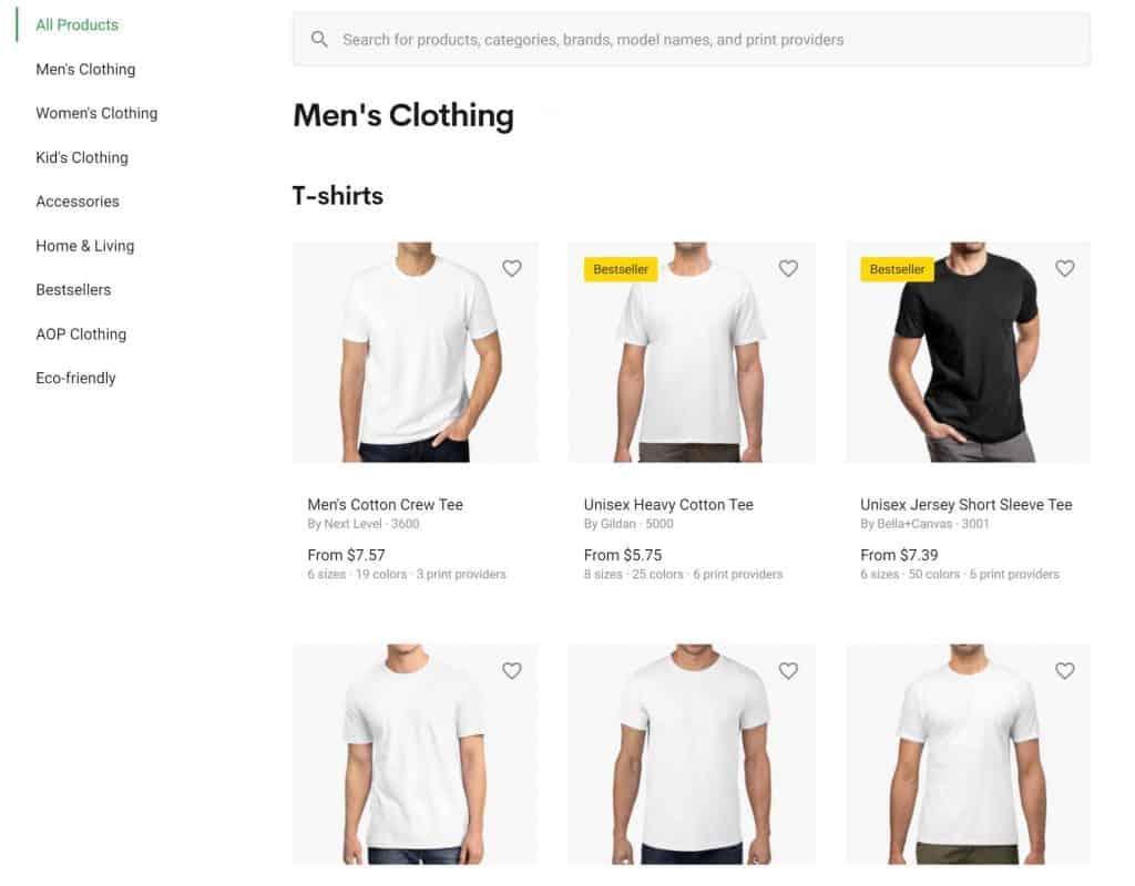 men's t-shirts from printify.com's website