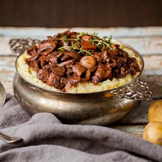 Mushroom Walnut Bourguignon with Cauliflower Mash (Vegan + GF).