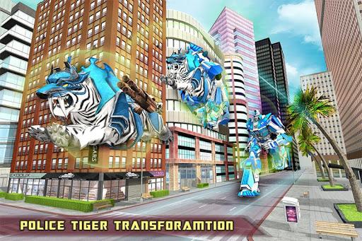 US Police Transform Robot Car White Tiger Game 1.2 screenshots 9