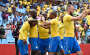 Mamelodi Sundowns Liberian forward Anthony Laffor celebrates with teammates after scoring one of the goals in a 4-0 Caf Champions League romp over Libyan outfit Al Ahli Benghazi at Loftus on Saturday December 22 2018.